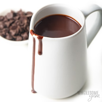 Keto chocolate syrup in a pitcher