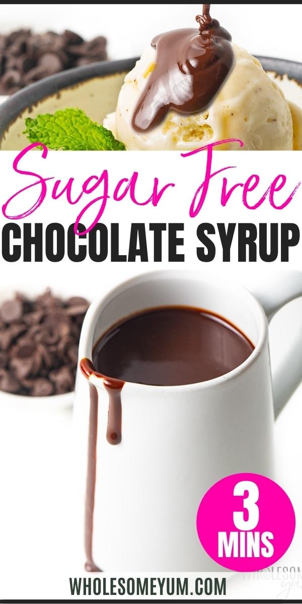 Sugar-free chocolate syrup recipe pin