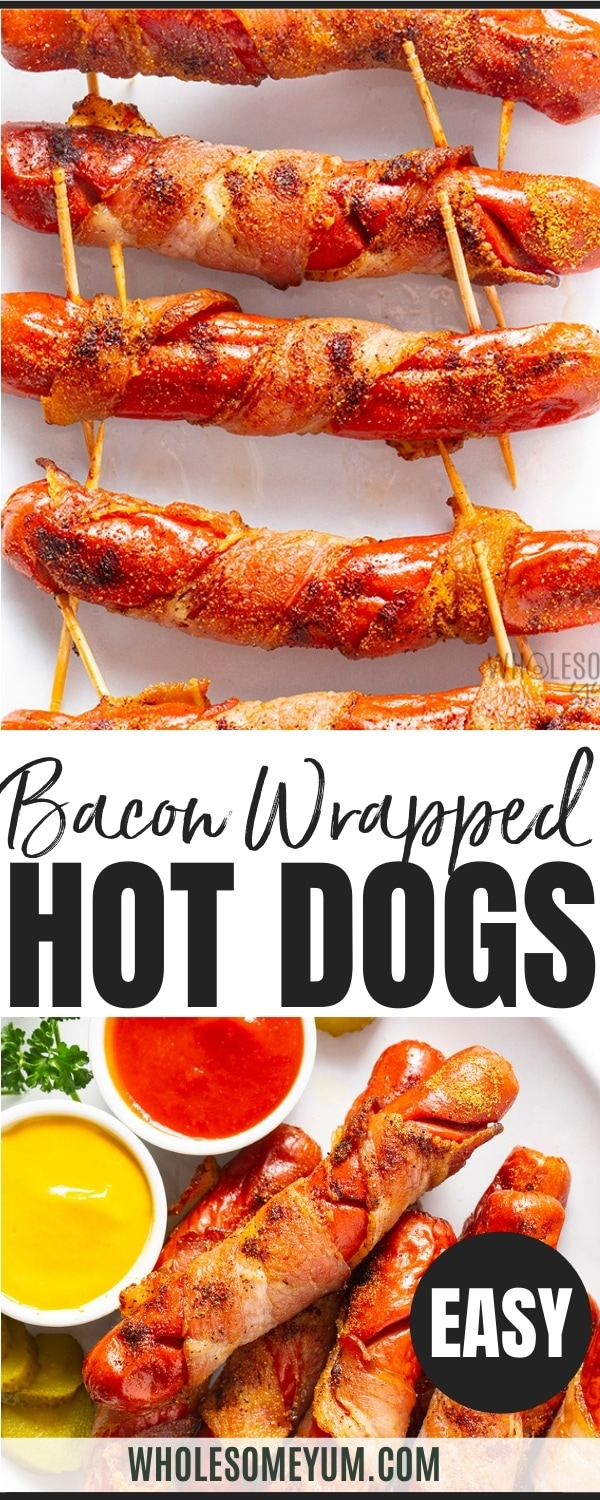 Bacon wrapped hot dogs recipe pin