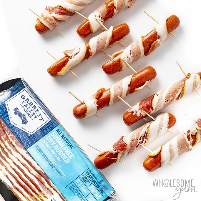 Bacon wrapped hot dogs with toothpicks