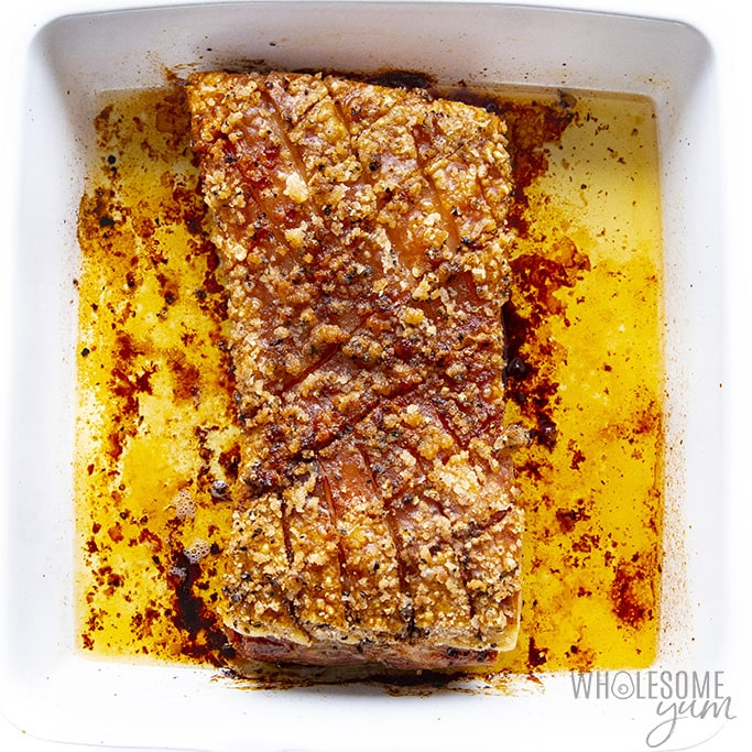 Roasted pork belly in a pan