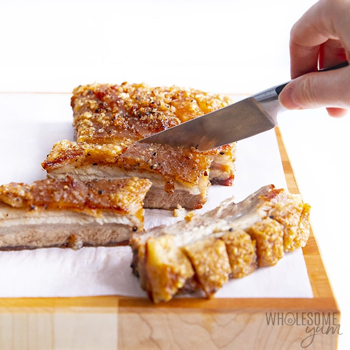 Showing how to cut pork belly
