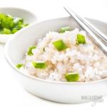 White bowl with shirataki rice and chopsticks