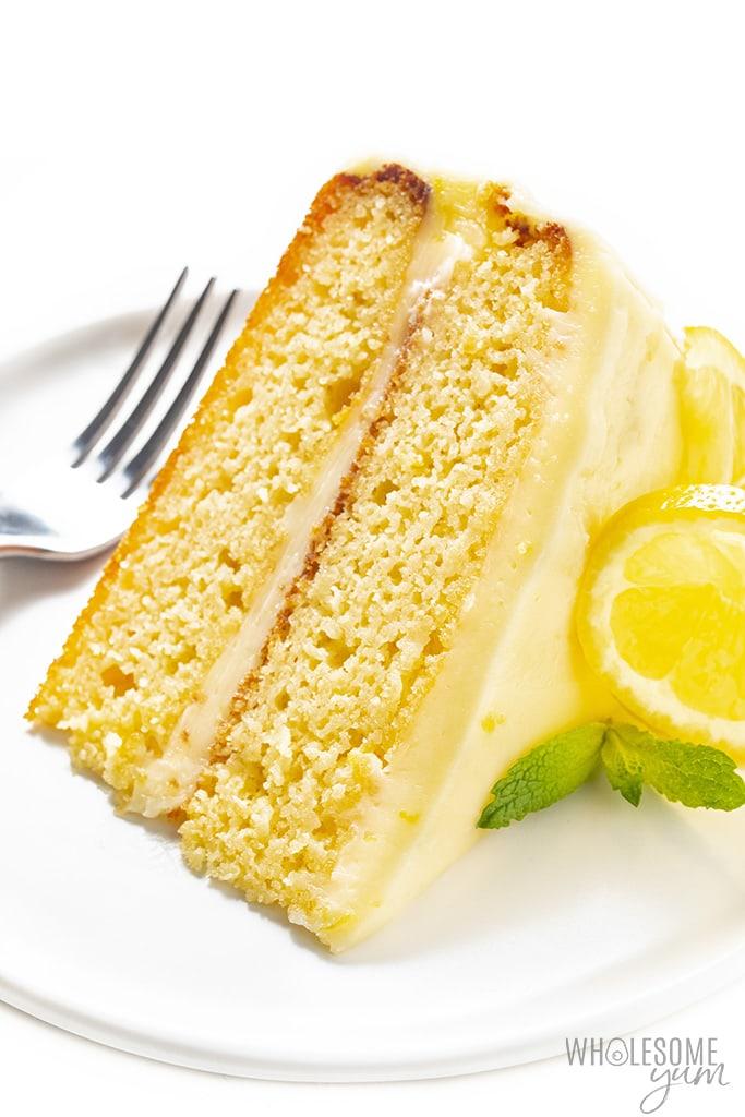 Slice of almond flour lemon cake