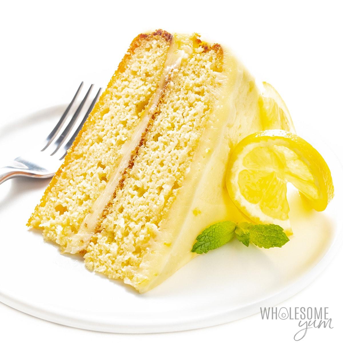 Slice of keto lemon cake