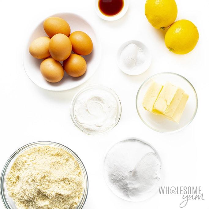 Ingredients to make almond flour lemon cake