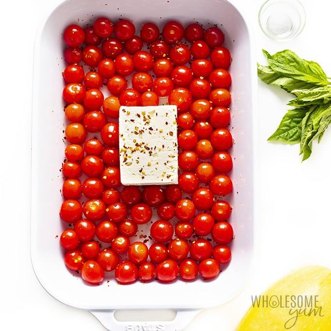 TikTok pasta feta and tomatoes before baking