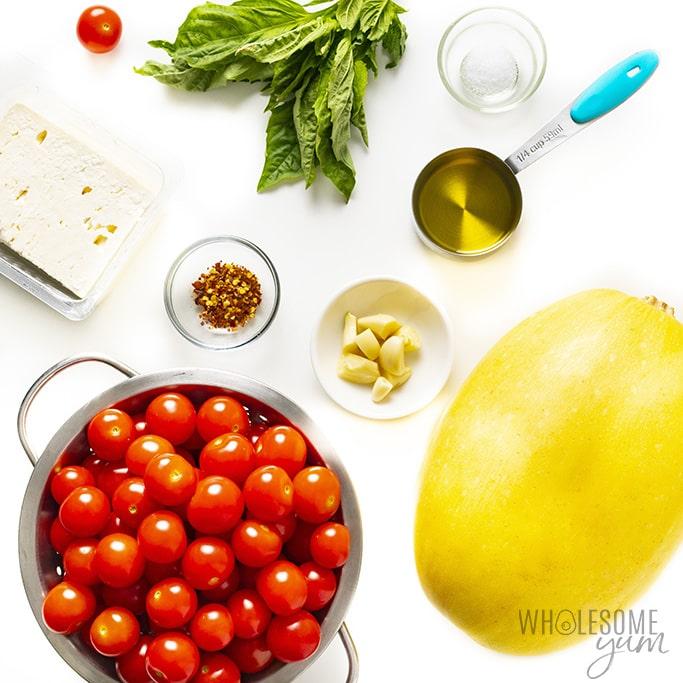 Low carb baked feta pasta ingredients
