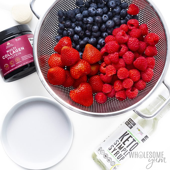 Ingredients to make berry protein smoothie