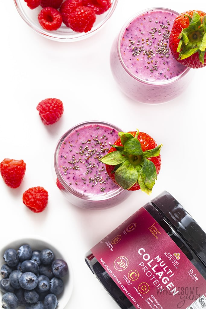 Collagen smoothie with chia seeds on top and berries