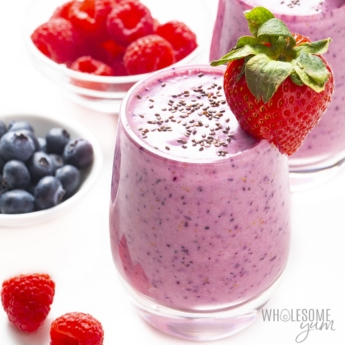 Berry protein smoothie sprinkled with chia seeds