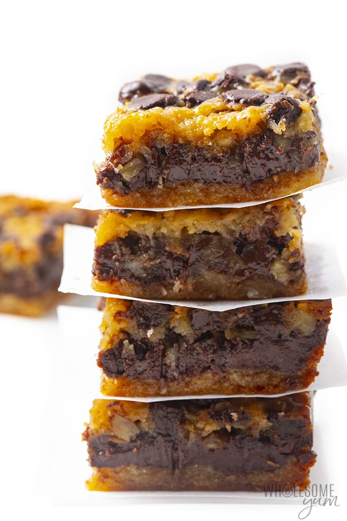 Gluten-free magic cookie bars stacked