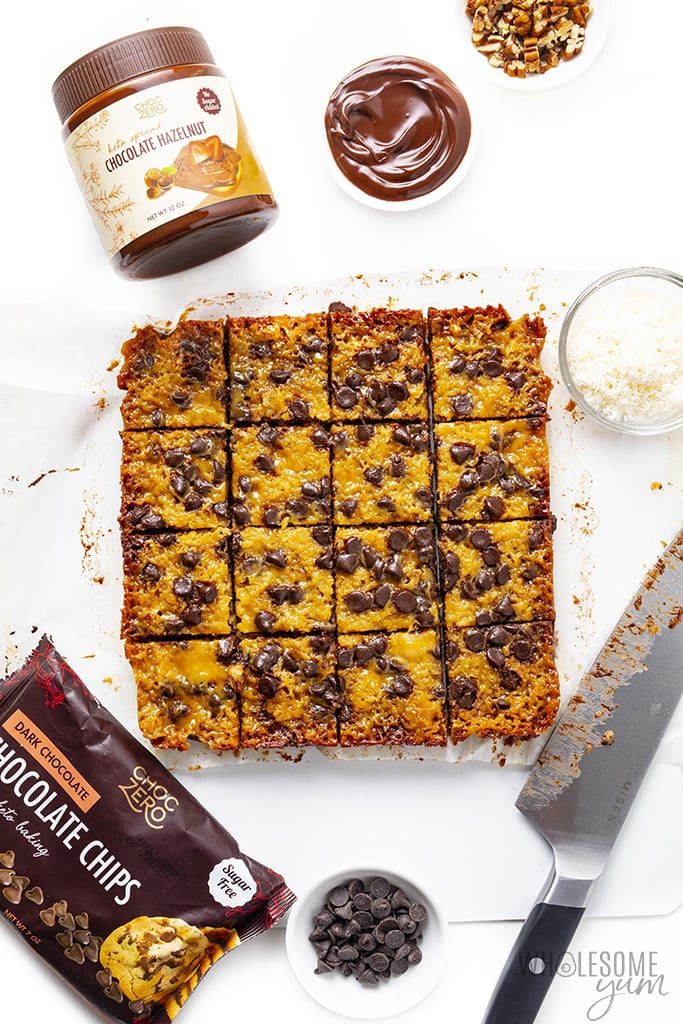 Keto seven layer bars sliced with chocolate chips and hazelnut spread