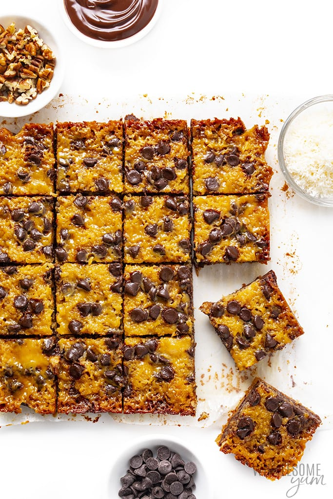 Sliced and cooled keto magic cookie bars