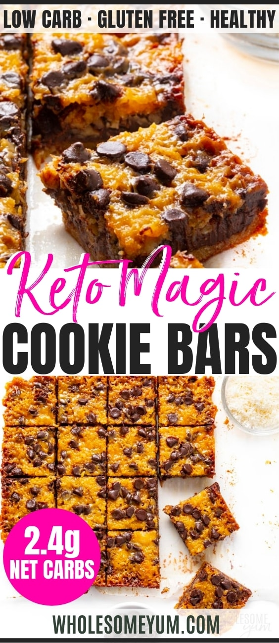 Healthy keto magic cookie bars recipe pin