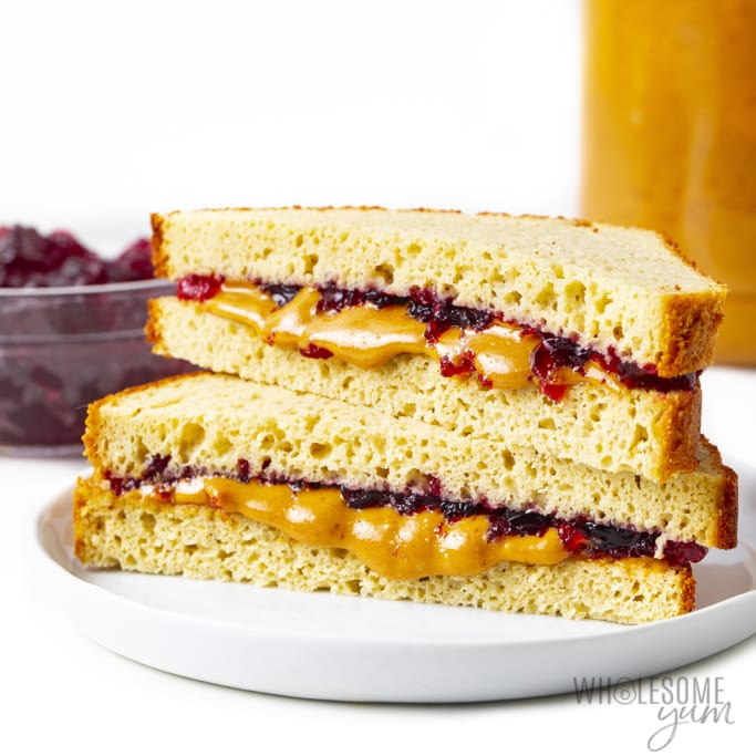 Peanut butter and jelly keto sandwich stacked
