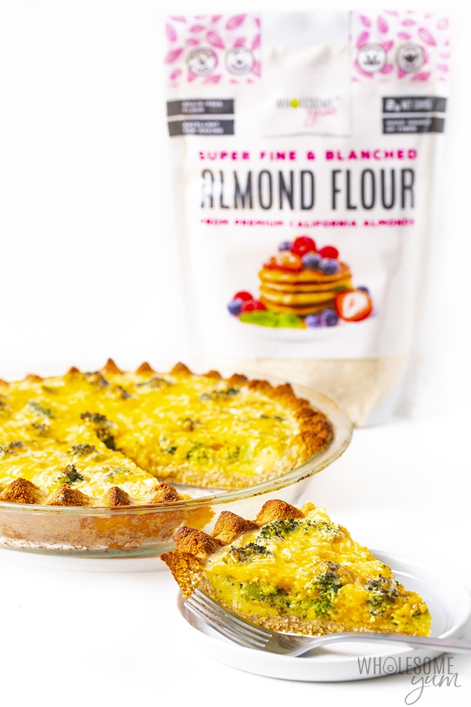 Keto quiche with bag of almond flour in picture
