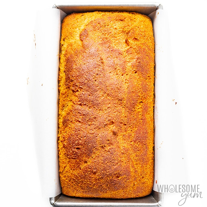 Keto yeast bread recipe in pan after baking
