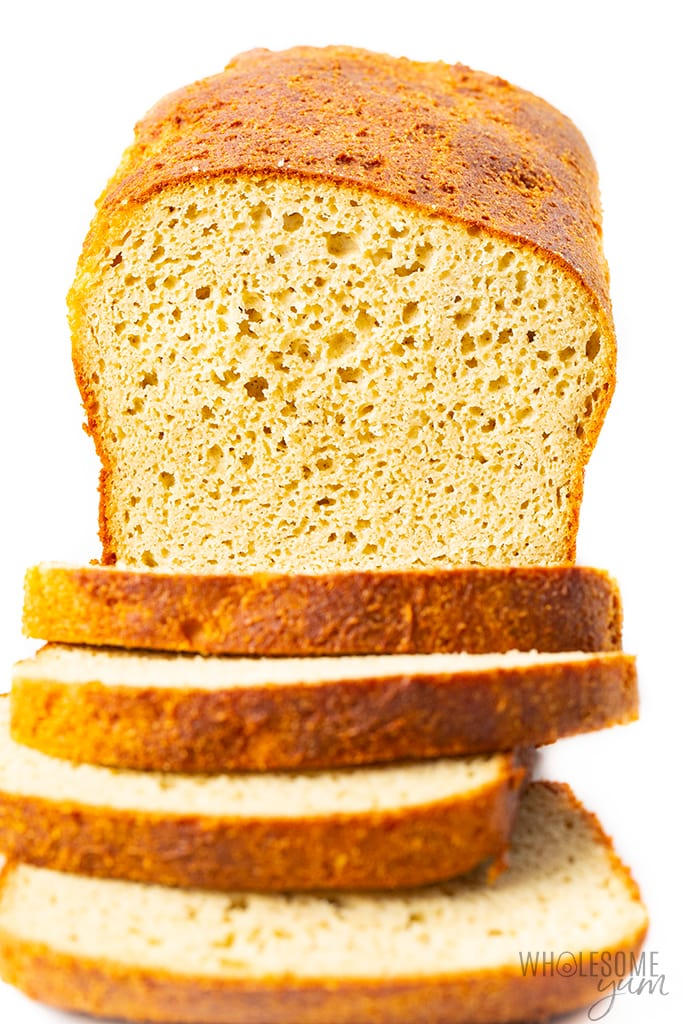 Low carb yeast bread - sliced, front view