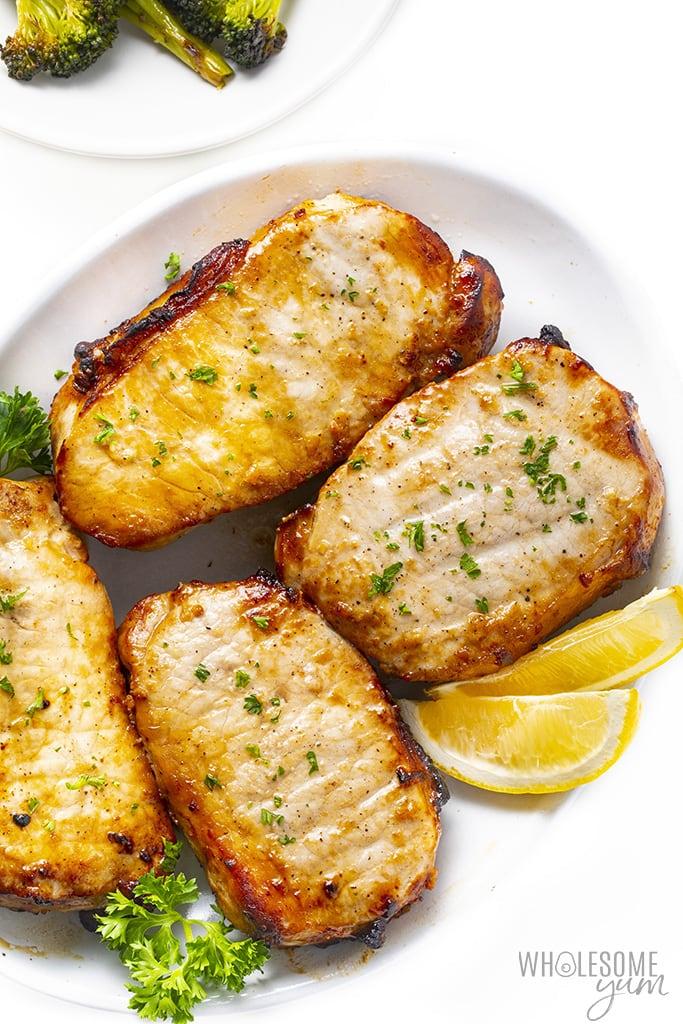 Boneless pork chops air fryer recipe on a platter