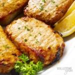 Air fryer pork chops close up