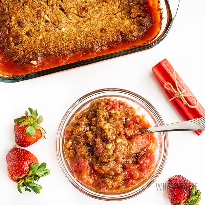 keto strawberry rhubarb crisp in a bowl
