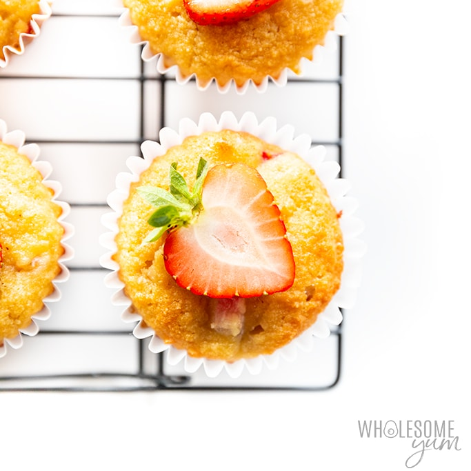 Keto strawberry muffins on cooling rack