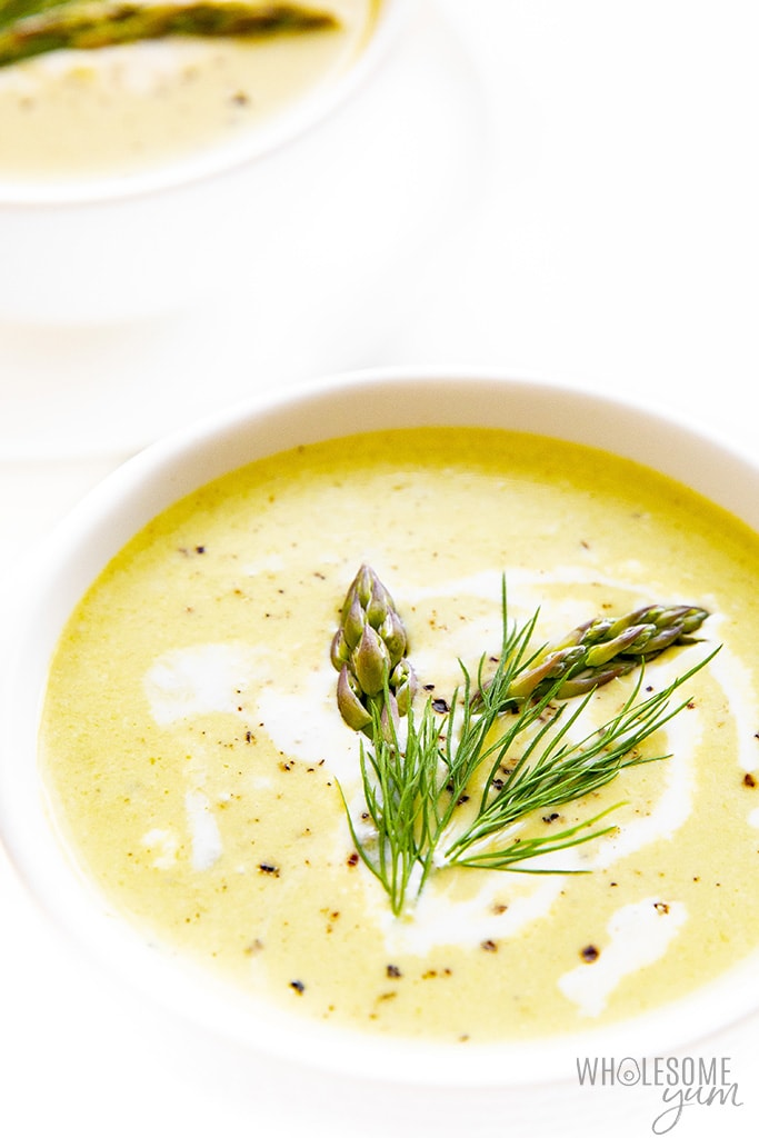 2 bowls of asparagus soup - side view