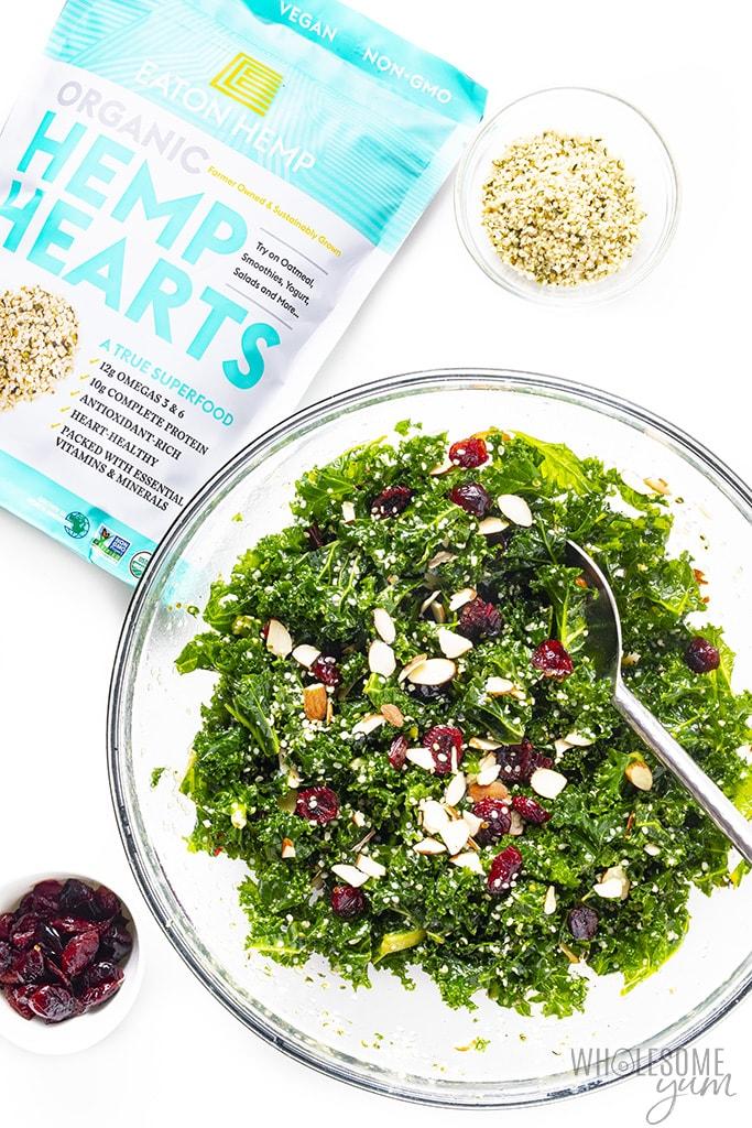 Kale crunch salad with hemp hearts