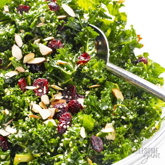 Close up of kale crunch salad
