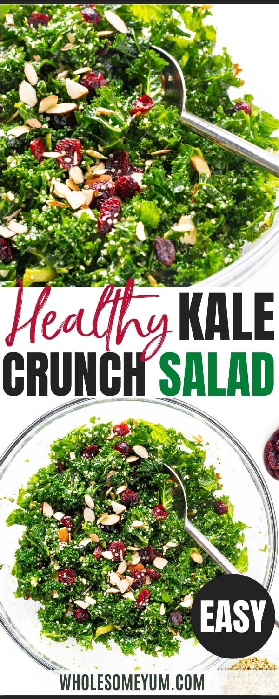 Healthy kale crunch salad recipe pin
