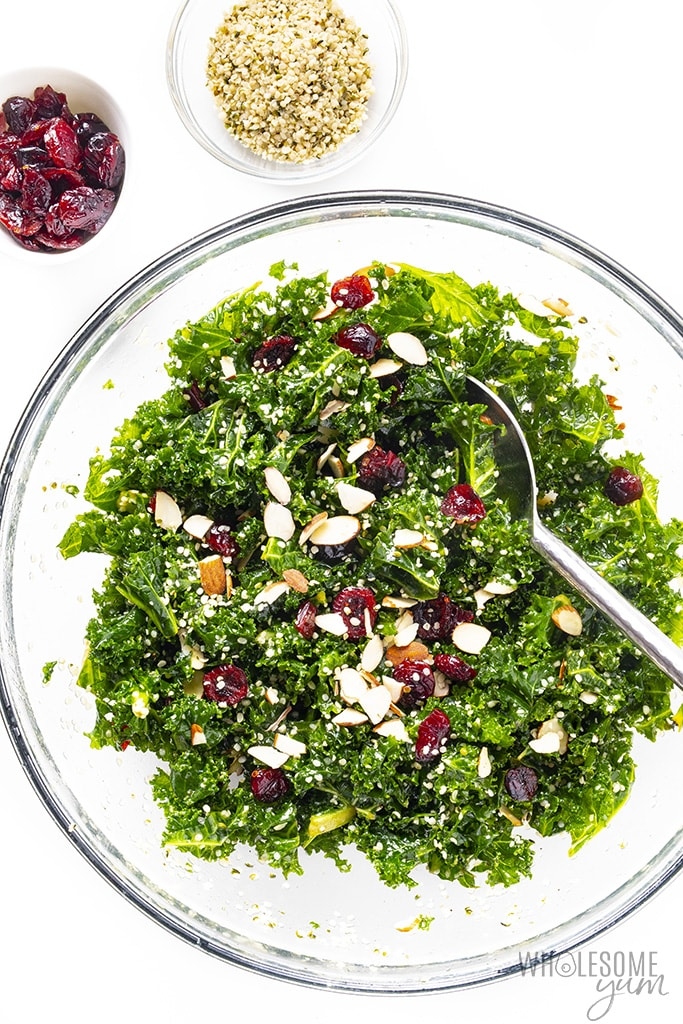 Kale crunch salad with spoon