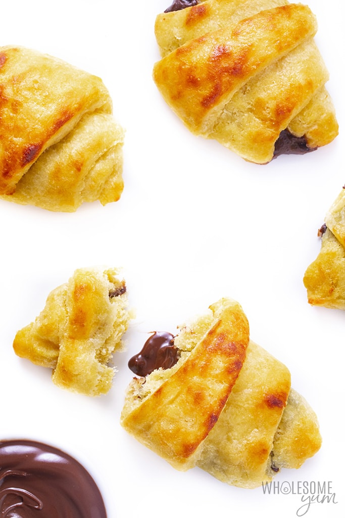 Keto butter croissants on a white background