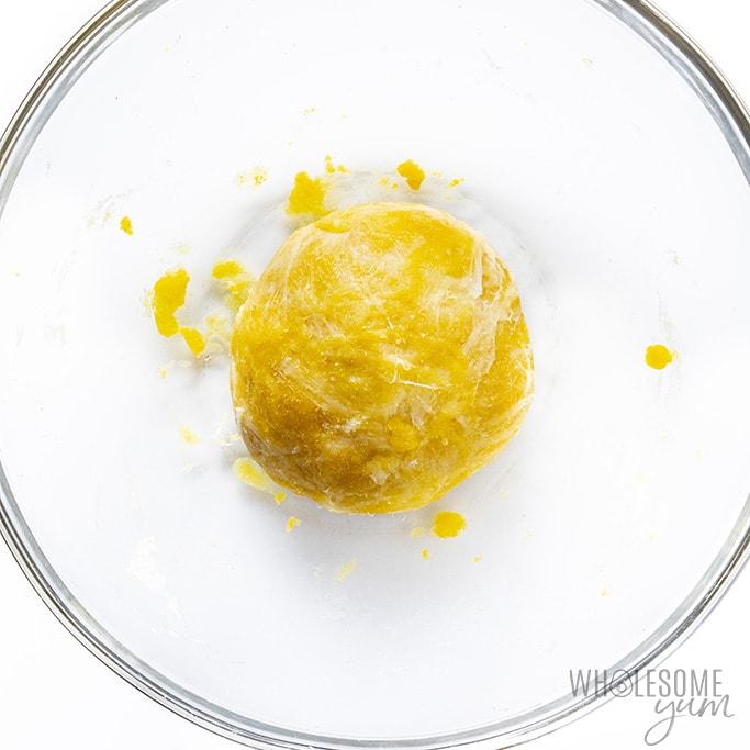 Keto croissant recipe dough in a glass bowl
