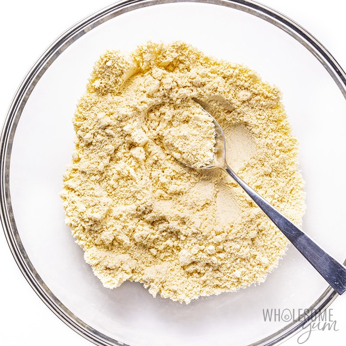 Dry ingredients for keto croissant recipe in a glass bowl