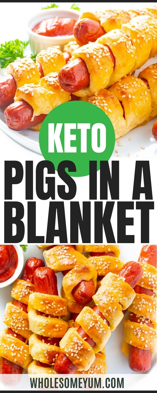 Keto friendly pigs in a covered recipe pin