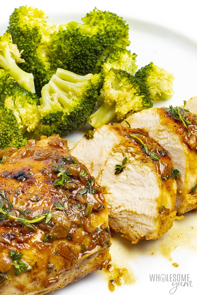 Slices of pan fried chicken breast