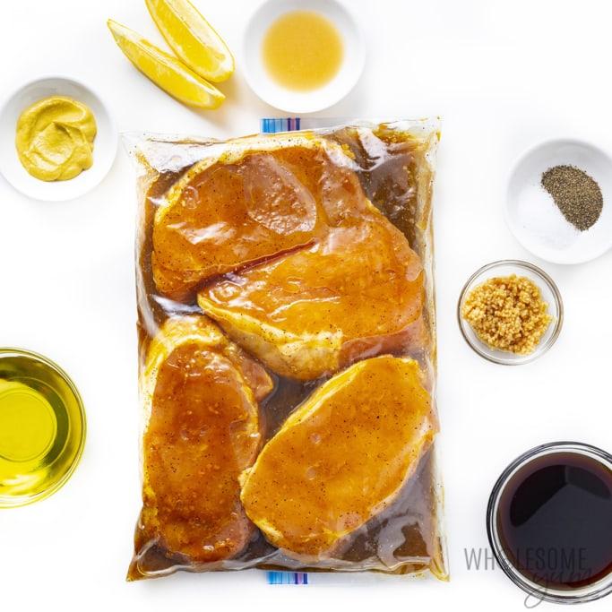 Pork chops marinating in bag