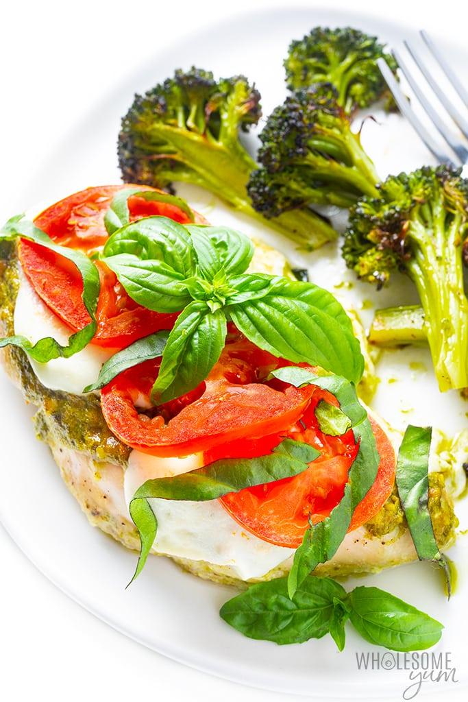 Plate with basil pesto chicken and brocoli