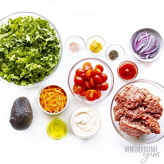 Loaded burger bowl ingredients