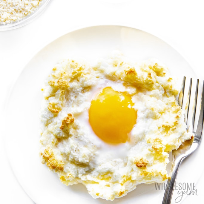 Garlic and parmesan egg clouds