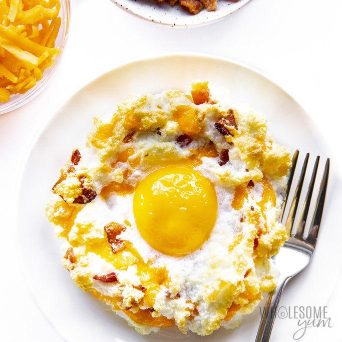 Bacon and cheese cloud eggs