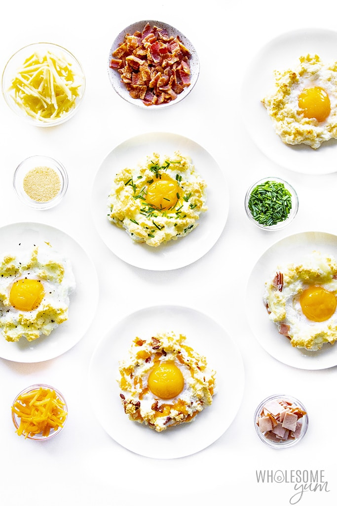 Different variations of cloud eggs