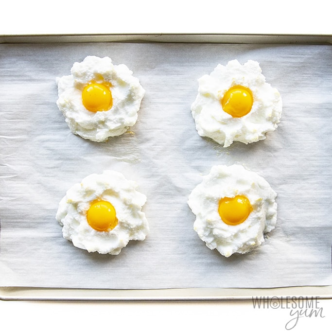 Cloud eggs before yolks are done