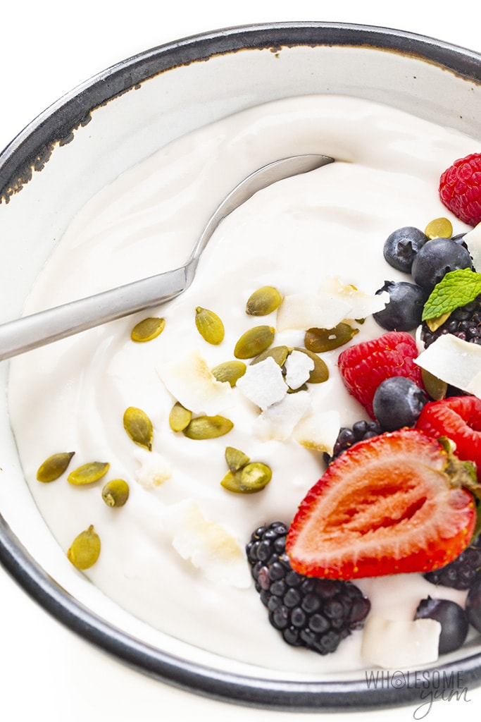 Coconut yogurt recipe in a bowl with toppings