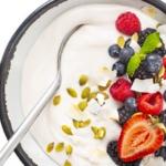 Dairy free coconut yogurt close up in a bowl