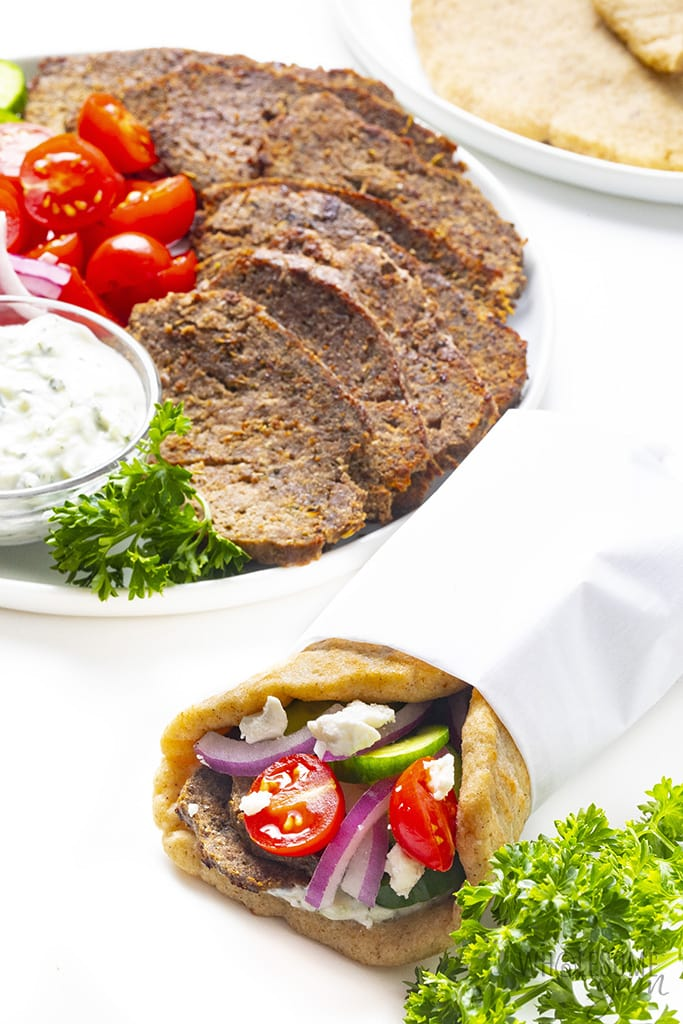 Gyro sandwich wrapped in paper