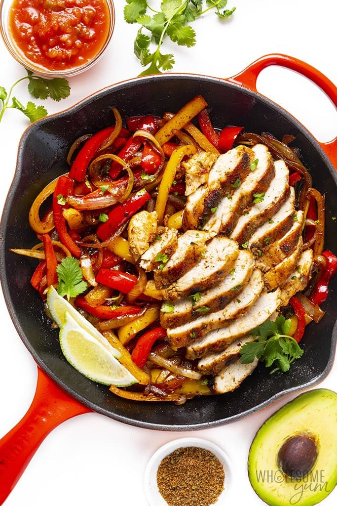 Red skillet with easy chicken fajitas