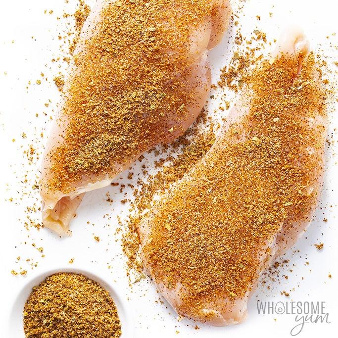 Chicken breast with fajita seasoning on them