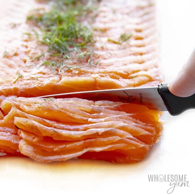 Slicing lox with a knife